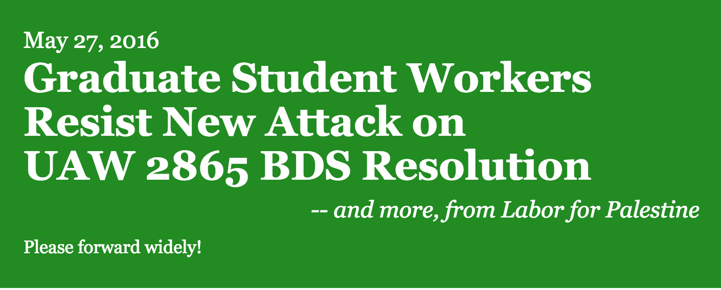 LFP Bulletin: Graduate Student Workers Resist New Attack on UAW 2865 BDS Resolution
